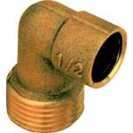 Coude en laiton - Mâle - 12 mm à souder vers 15 x 21 à visser - Sachet de 10