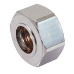 Ecrou Collet Battu en laiton - 15 x 21 - Pour tube 12 mm - Sachet de 2 pièces - Chromé