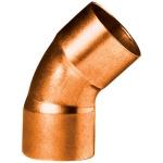 Coude 45 degrès à souder en cuivre - Petit Rayon - Femelle / Femelle - Diamètre 14 mm - Sachet de 2