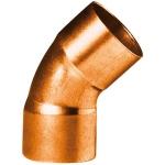 Coude 45 degrès à souder en cuivre - Petit Rayon - Femelle / Femelle - Diamètre 22 mm - Sachet de 2