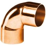 Coude 90 degrès à souder en cuivre - Petit Rayon - Femelle / Femelle - Diamètre 22 mm - Sachet de 25