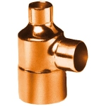 Té à souder en cuivre - Femelle / Femelle / Femelle - Diamètre 16 / 12 / 14 mm - Sachet de 2