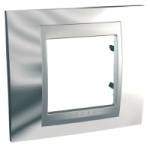 Plaque Schneider Unica Top - 1 Poste - 2 Modules - Chrome Brillant - Liseré Alu