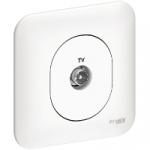 Prise Télévision Simple - Blanc - A Vis - Schneider Ovalis - Complet