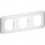 Plaque 3 postes - Blanc - Schneider Electric Ovalis - Horizontale