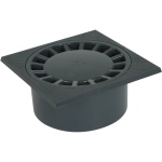 Siphon de cour - 200 x 200 mm - A emboîture incorporée - Sortie verticale - Nicoll SC089 - Gris foncé