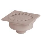 Siphon de cour - 150 x 150 mm - A emboîture extérieure - Sortie Verticale - Nicoll SC504G - Gris Clair