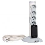 Rallonge Multiprise - Avec socle - 4 x 2P+T - 2 x USB - 1 x Micro USB - Parafoudre