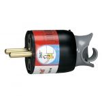 Fiche male 16A 2P+T en plastique orientation du cable à 360 noir