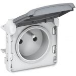 Prise de courant 2P+T Plexo gris (composable)