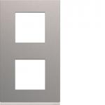 Plaque - 2 postes - Verticale - 71 mm - Titane - Hager Gallery WXP0142