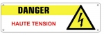 Plaque en pvc danger haute tension 200x60mm
