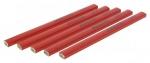 Crayon menuisier 18 cm rouge X5