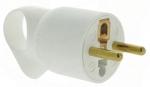 Fiche male 16A 2P+T en plastique avec anneau d'extraction blanc