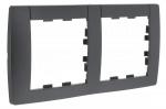 Plaque 2 postes horizontal 71mm Hager Kallysta Carbone