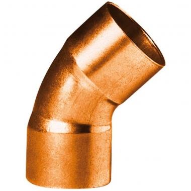 Coude 45 degrès à souder en cuivre - Petit Rayon - Femelle / Femelle - Diamètre 22 mm - Sachet de 25