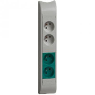 Bloc colonne - 2 x 2P+T + 2 x 2P+T verte - 325 mm - Aluminium - Legrand 030749