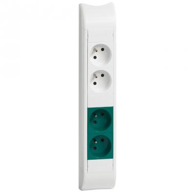 Bloc colonne - 2 x 2P+T + 2 x 2P+T verte - 325 mm - Blanc - Legrand 031049