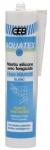 Mastic silicone d'étanchéité sanitaire Geb AQUATEX - Cartouche de 310 ml - Blanc