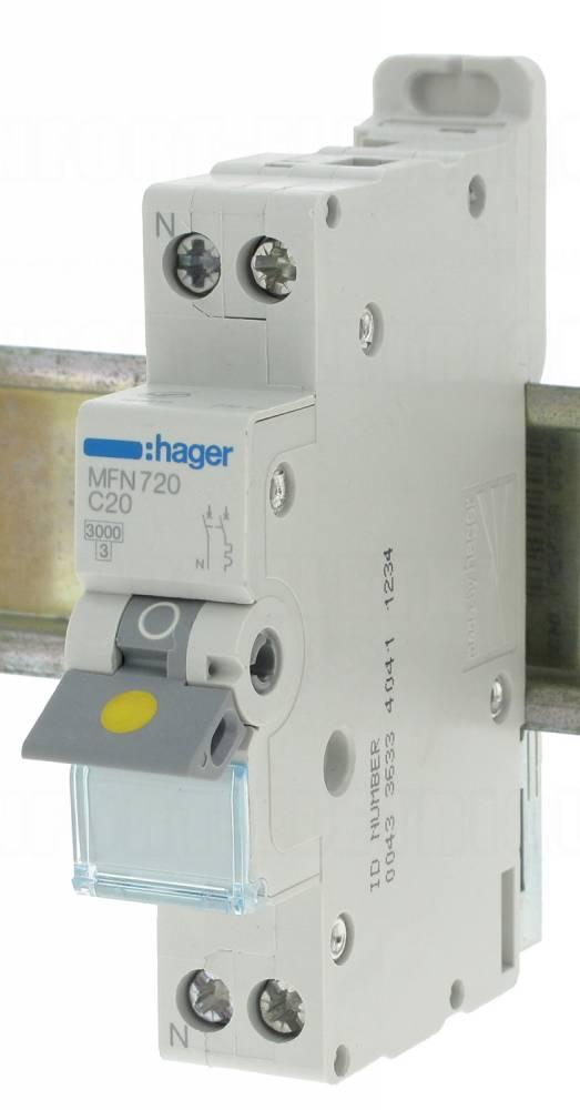 Disjoncteur 20a 3ka courbe c phase neutre hager vis - Disjoncteur courbe c ...