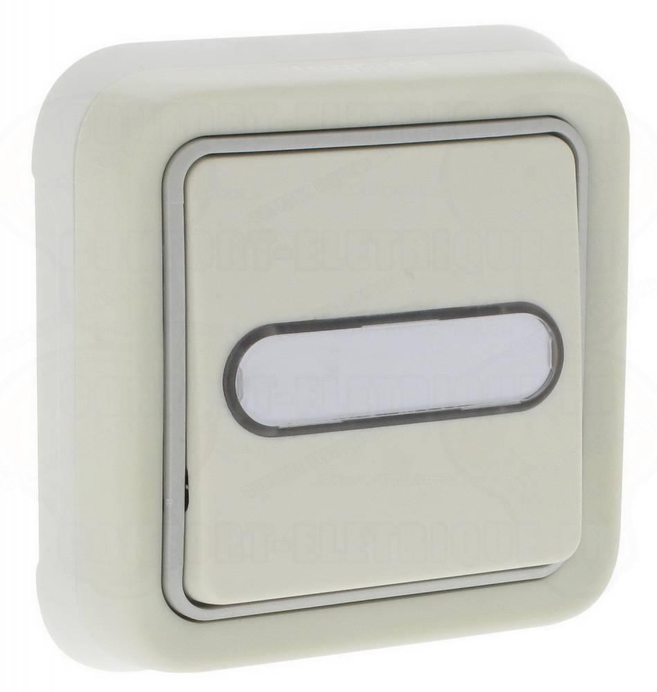 bouton poussoir porte tiquette lumineux no nf plexo blanc c. Black Bedroom Furniture Sets. Home Design Ideas