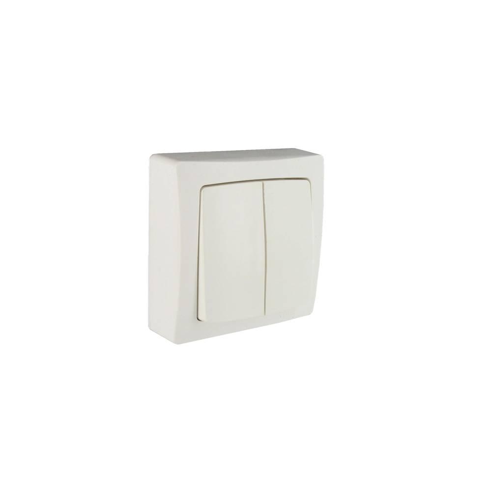 bouton poussoir double saillie complet blanc 20 28. Black Bedroom Furniture Sets. Home Design Ideas